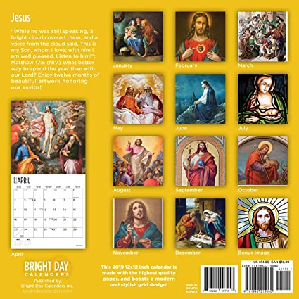 2019 Jesus Calendar Amazon.: Kids/Family Themed Wall Calendars by Bright Day