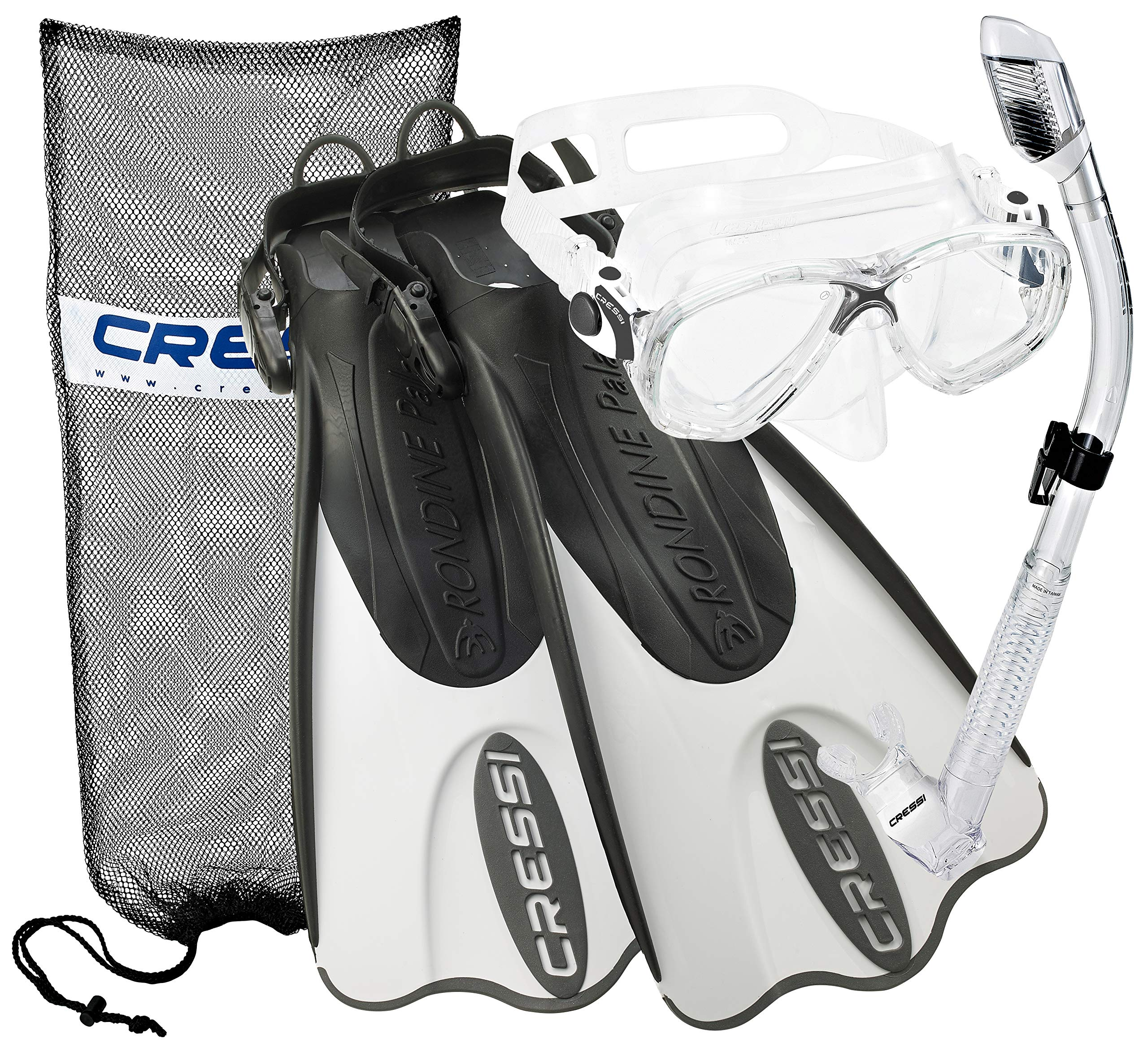 Cressi Palau Mask Fin Snorkel Set with Snorkeling Gear Bag, Designed and Manufactured in Italy (Black White, S/M | (Mens 4-7) (Womens 5-8))