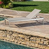 Christopher Knight Home Crested Bay Patio Furniture ~ Outdoor Aluminum Adjustable Chaise Lounge Chair (Grey)