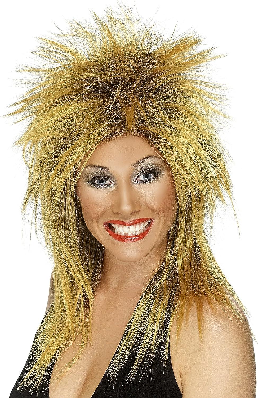 Rock Diva Ladies Ginger Wig 1980s Celebrity Tina Turner Fancy Dress Costume Wig