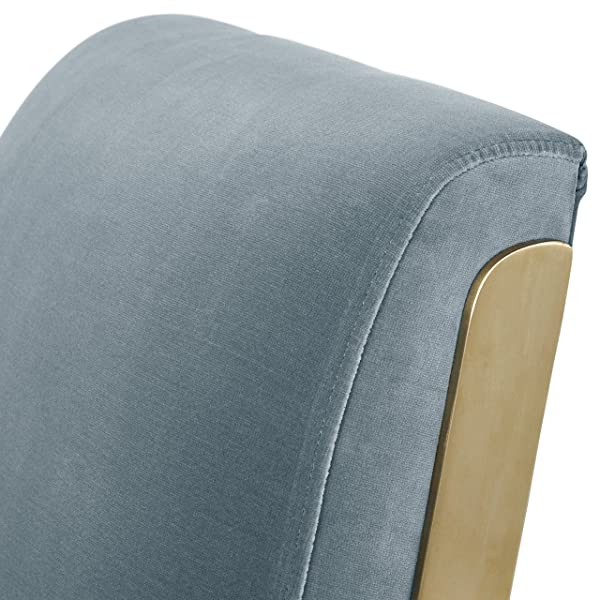 "Rivet Clover Modern Glam Velvet Brass Arm Accent Chair, 27.25""W, Light Blue"