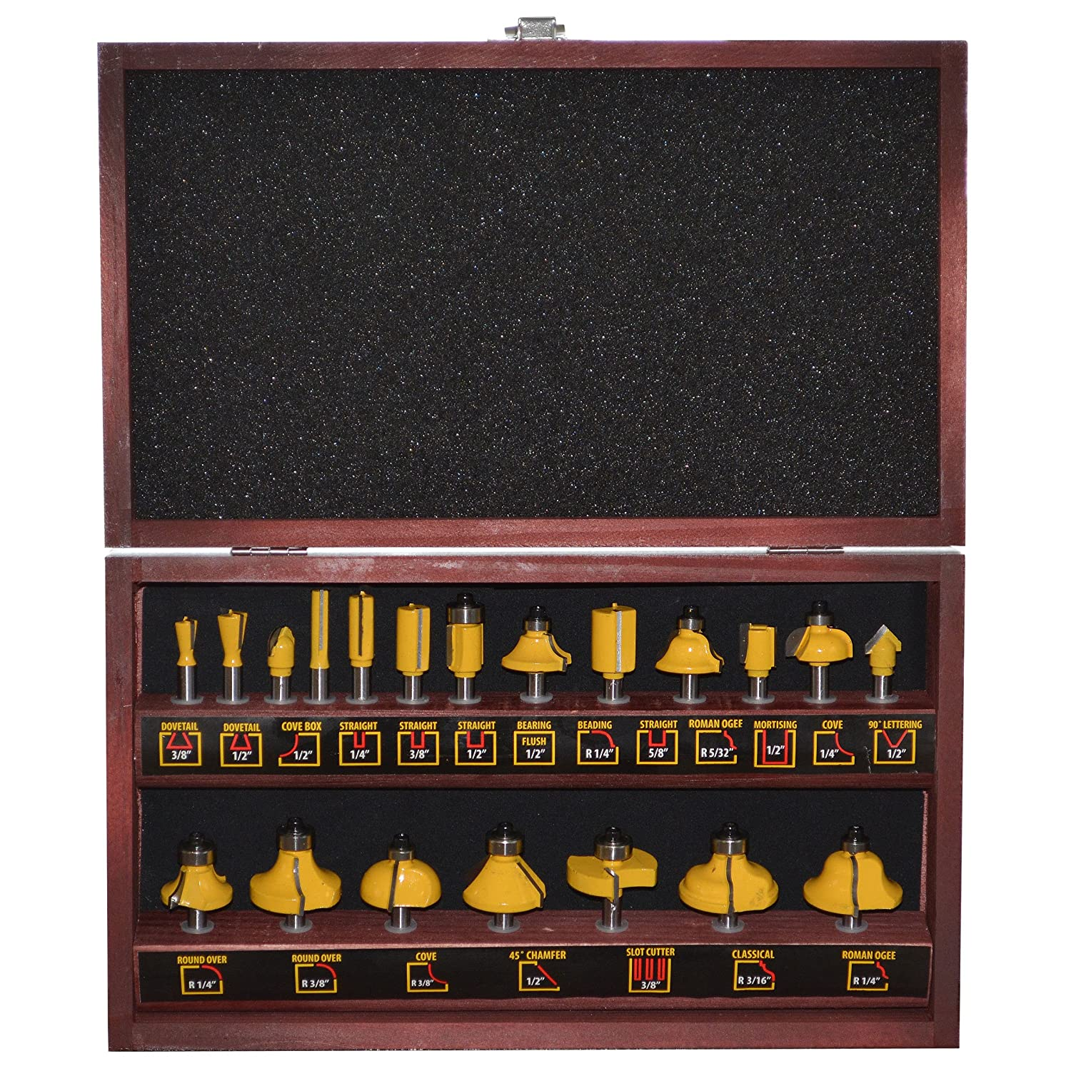 RBSET20 Pro-Series 20Piece Router Bit Set In Wood Box Buffalo Tools