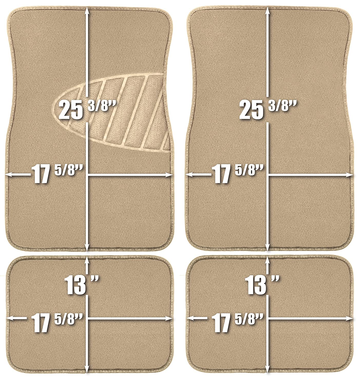 Armor All 78916 4-Piece Tan Heavy Duty Carpet Floor Mat with Heel Pad