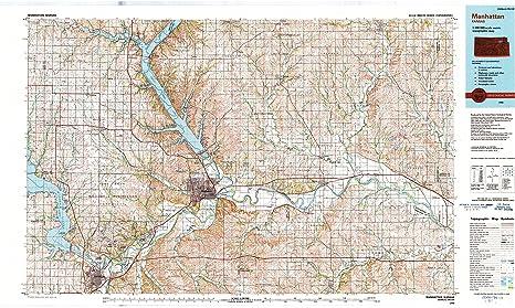 Map Of Manhattan Kansas.Amazon Com Yellowmaps Manhattan Ks Topo Map 1 100000 Scale 30 X