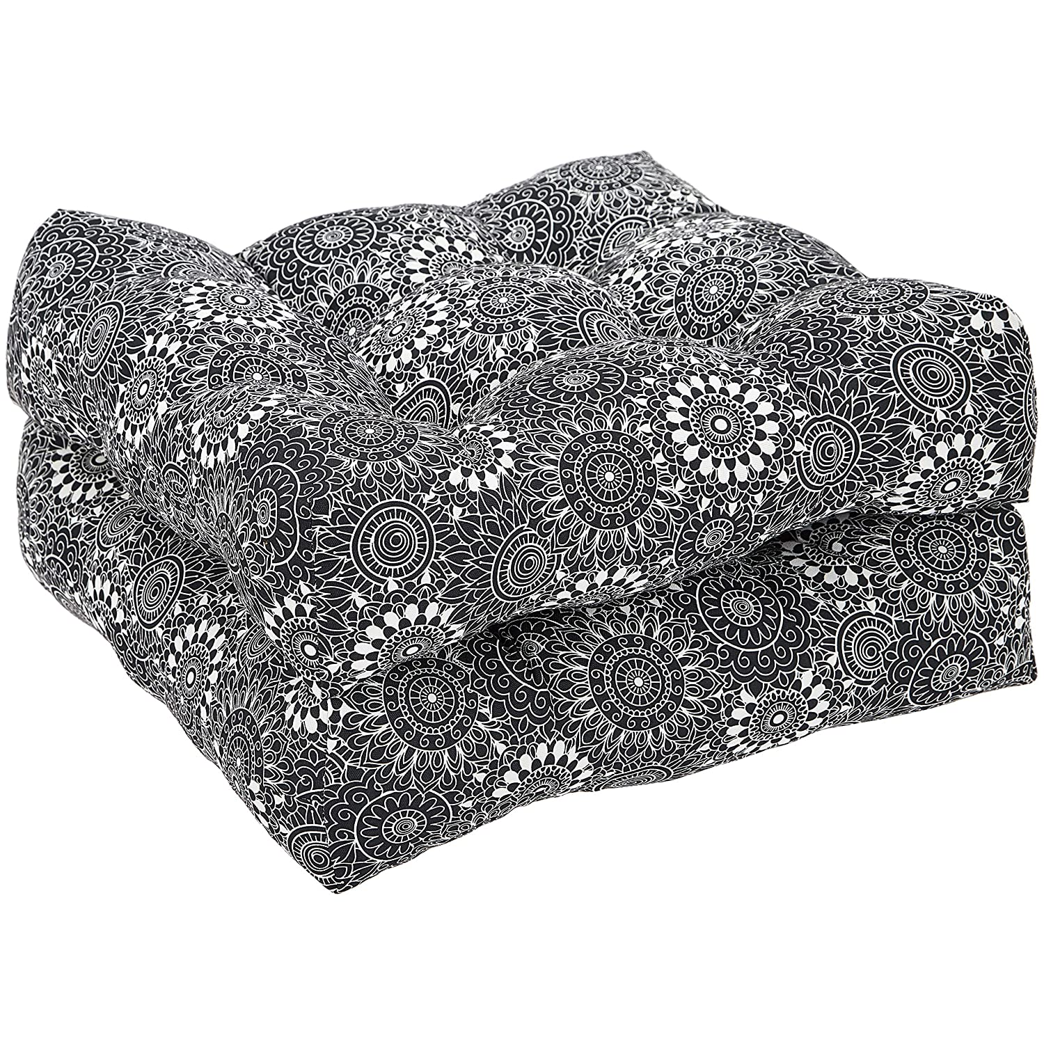 AmazonBasics Tufted Outdoor Seat Patio Cushion - Pack of 2, 19 x 19 x 5 Inches, Black Floral