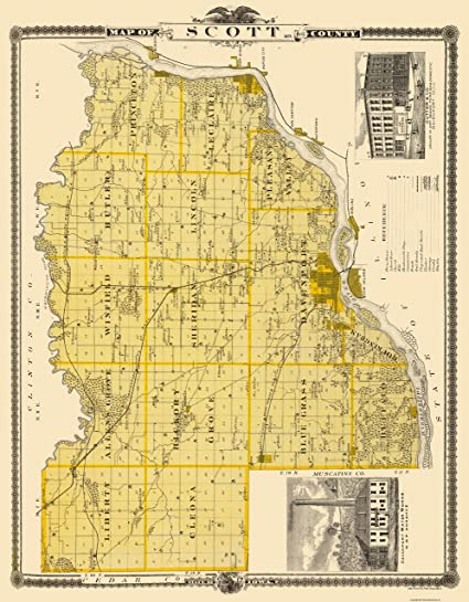 Old Iowa Map.Amazon Com Old County Map Scott Iowa Landowner Shober 1875 23