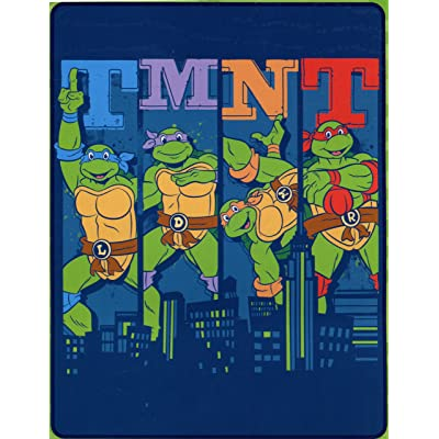 "Northwest Enterprises Teenage Mutant Ninja Turtles Silk Touch Throw - 40"" by 50"" - Cowabunga City Ninja!: Home & Kitchen"