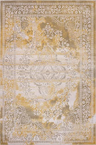 Pierre Cardin Home Lagoon Collection Oriental Traditional Vintage Design Abstract Area Rugs for Living Room Carpets 8 x 10 , Beige – A759I