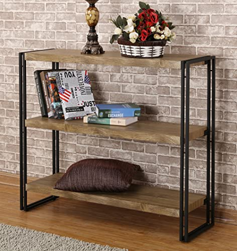FIVEGIVEN 3 Tier Bookshelf Rustic Industrial Bookcase with Modern Open Wood Shelves, Sonoma Oak