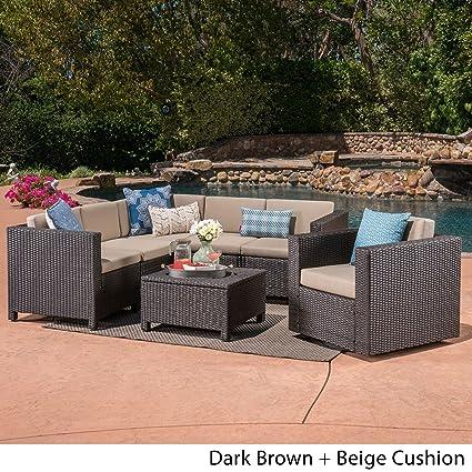 Cool Amazon Com Christopher Knight Home Puerta Outdoor 6 Seater Spiritservingveterans Wood Chair Design Ideas Spiritservingveteransorg