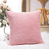 Home Brilliant Spring Decor Supersoft Striped Velvet Corduroy Decorative Throw Toss Pillowcase Cushion Cover for Baby, Baby Pink, (45x45 cm, 18inch)