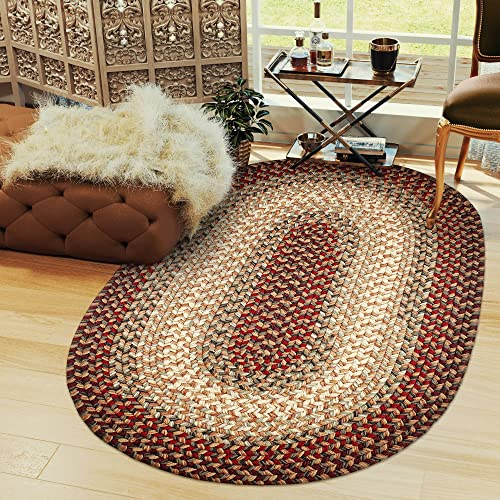Hartford 5 X 8 Oval Braided Rug Indoor Outdoor Rug Kitchen Rugs in Red Sunroom Porch Carpet