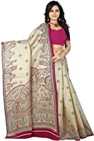 Jaanvi Fashion Women's Linen Kalamkari Figure Printed Saree (Pink)