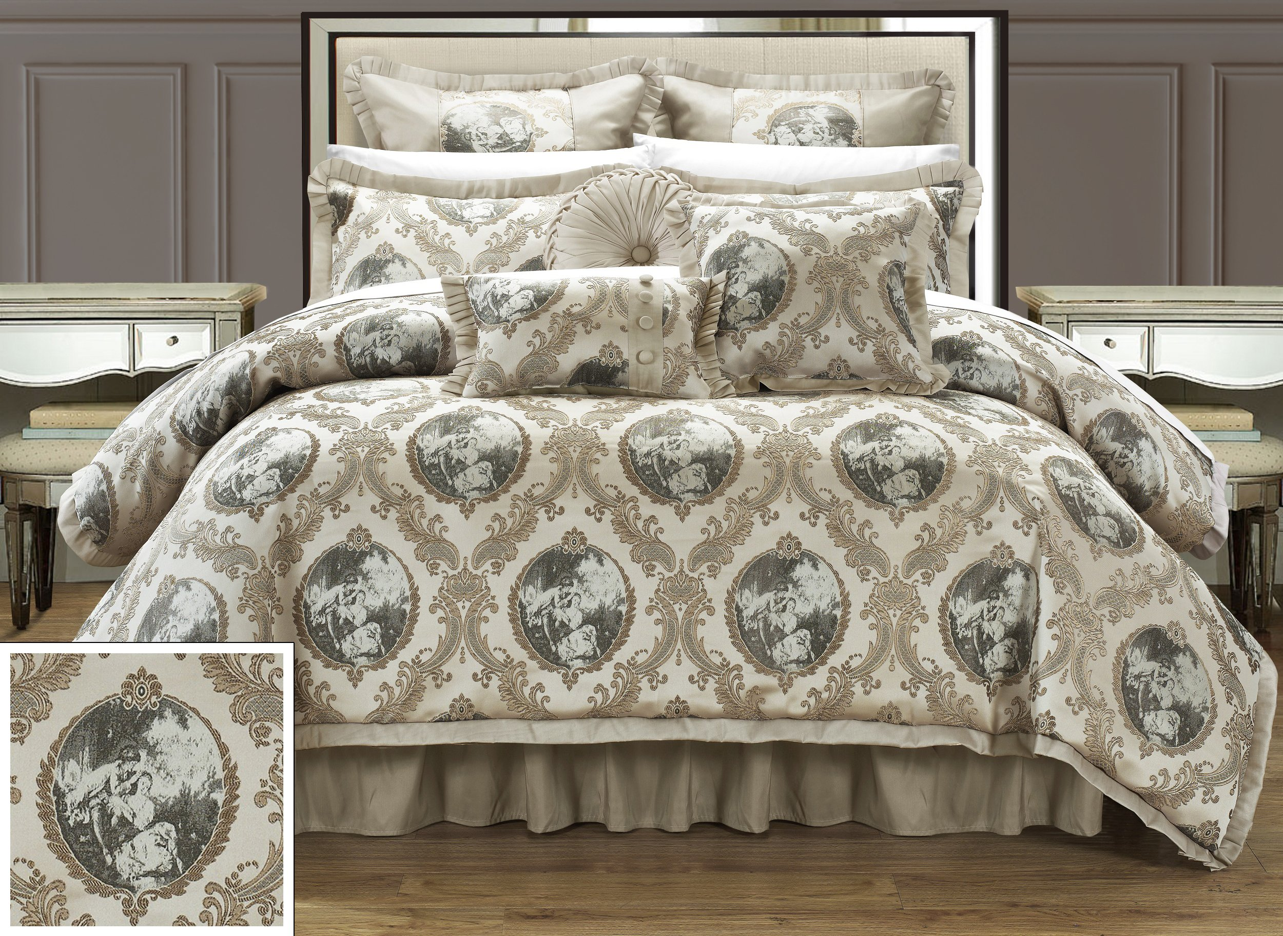 """Chic Home 9 Piece Romeo and Juliet Decorator Upholstery Comforter Set with Pillows Ensemble King Beige - 1pc Comforter with Faux silk pleated flange: 110x96"""" , 2pc Pillow Sham: 20x36+2"""" , 2pc Euro Sham Faux silk: 26x26+1.5 inch Flange, 1 Bed skirt pleated faux silk: 78x80+15"""" , 1pc Cushion: 18x18"""" , 1pc Rectangle Pillow: 12x18"""" , 1 Round Pillow: 16"""" Oversized Overfilled Elegant decorative pillows highlight the essence of this comforter set - comforter-sets, bedroom-sheets-comforters, bedroom - A1MBk nbV1L -"""