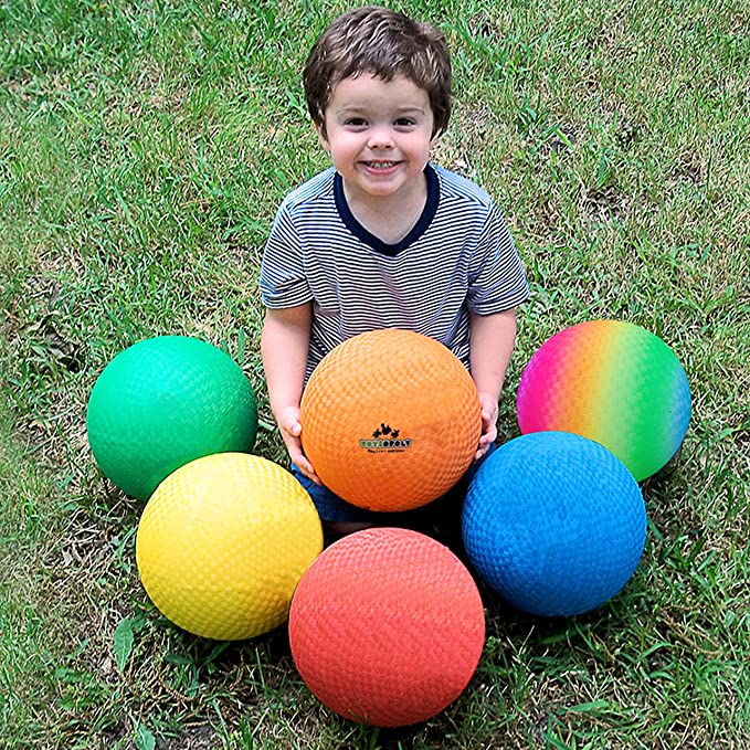 Kickball-Outdoor Balls Games for Kid,with Pump Set of 4 EVERICH TOY 8.5 inch Playground Balls for Kids and Adults-Rubber Dodgeball