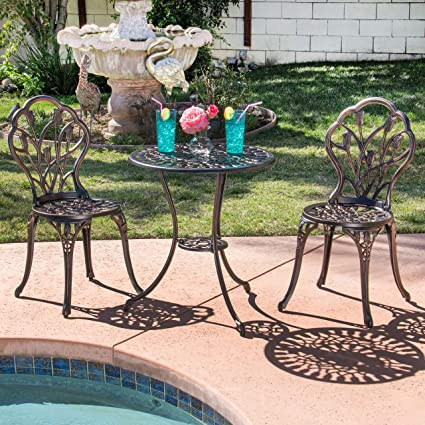 Best Choice Products Outdoor Patio Furniture Tulip Design Cast Aluminum 3  Piece Bistro Set in Antique - Amazon.com: Best Choice Products Outdoor Patio Furniture Tulip