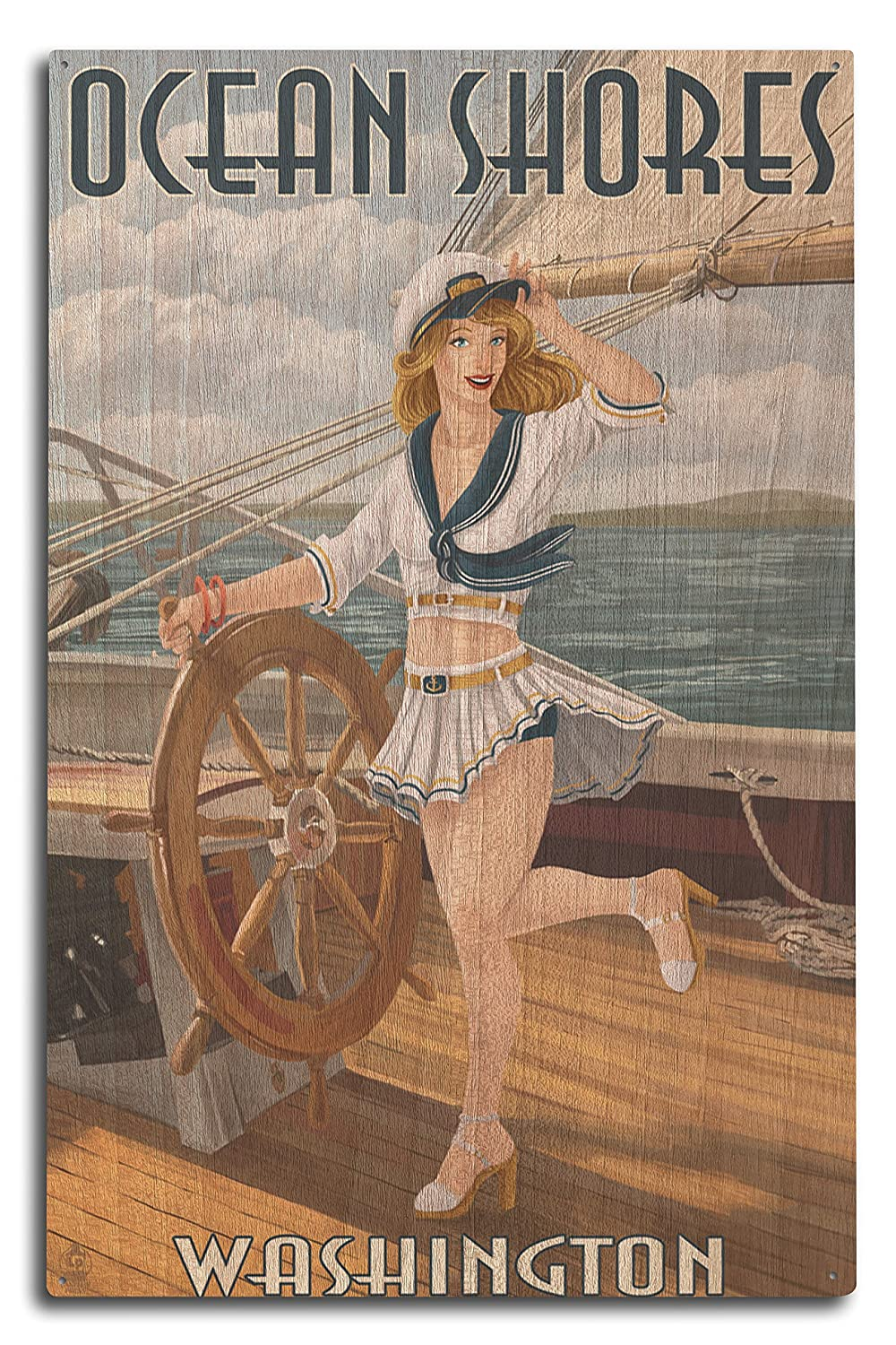 Ocean Shores、ワシントン – Pinup Girl Sailing 10 x 15 Wood Sign LANT-46263-10x15W B07365X2D3  10 x 15 Wood Sign