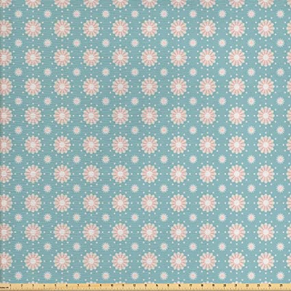 Amazon.com: Floral Fabric by the Yard by Lunarable, Retro Style ...