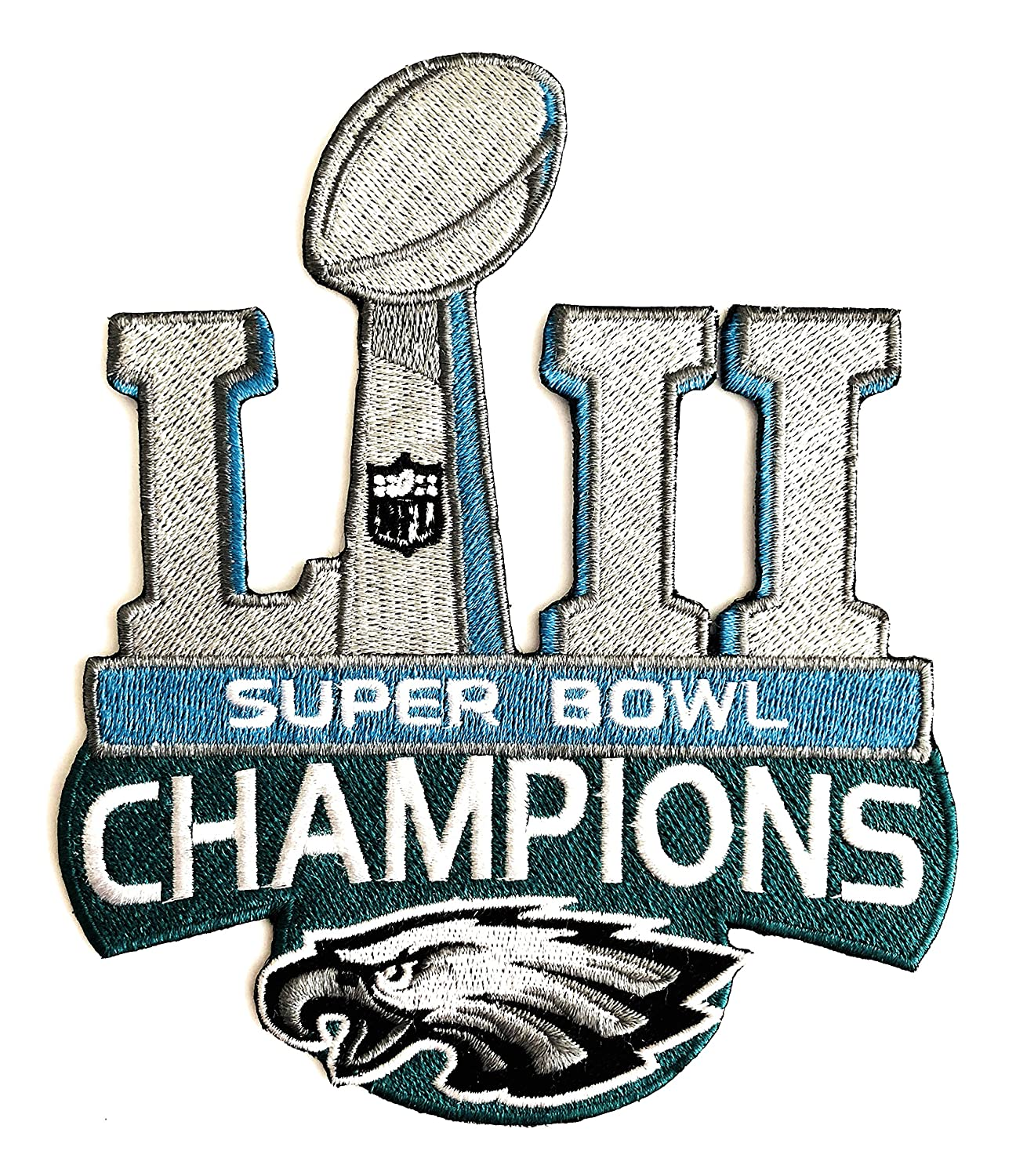 Football 2018 Super Bowl 52 LII Eagles Champions Patch Large 5 x 6 Eagles LII Champs Logo Patch