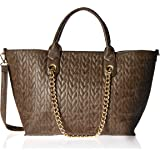 Diophy PU Leather Tote Satchel Large Womens Purse Handbag Accented with Metal Chain Top Handle with Removable Strap MD-2732