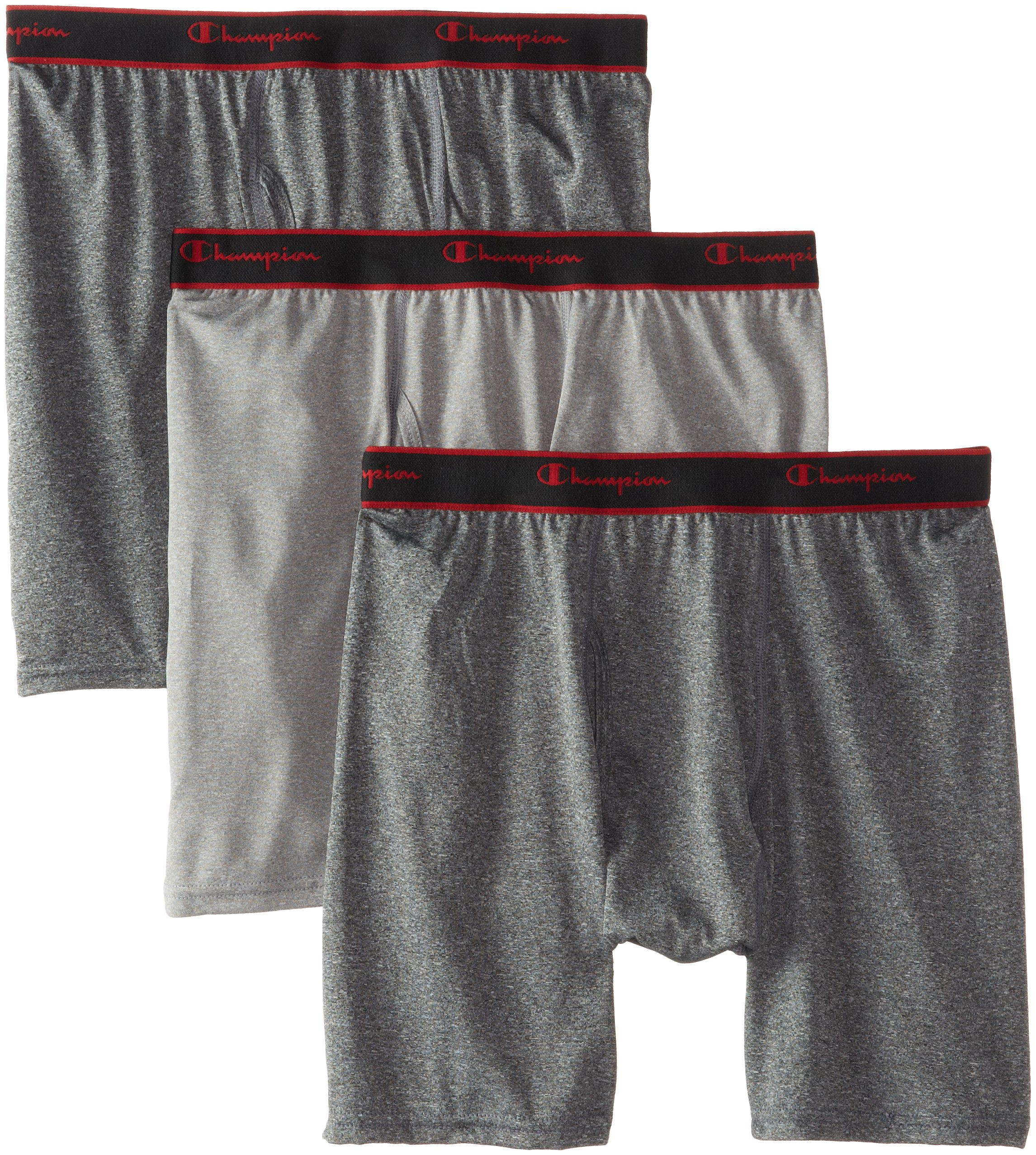Champion Men's 3-Pack Active Performance Regular Leg Boxer Briefs, Black/Grey/Black, Small