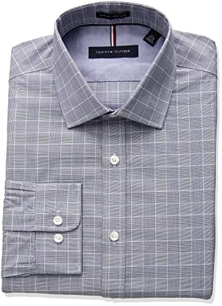 0e4618a9 Tommy Hilfiger Men's Non Iron Slim Fit Suiting Plaid Spread Collar Dress  Shirt, Midnight,