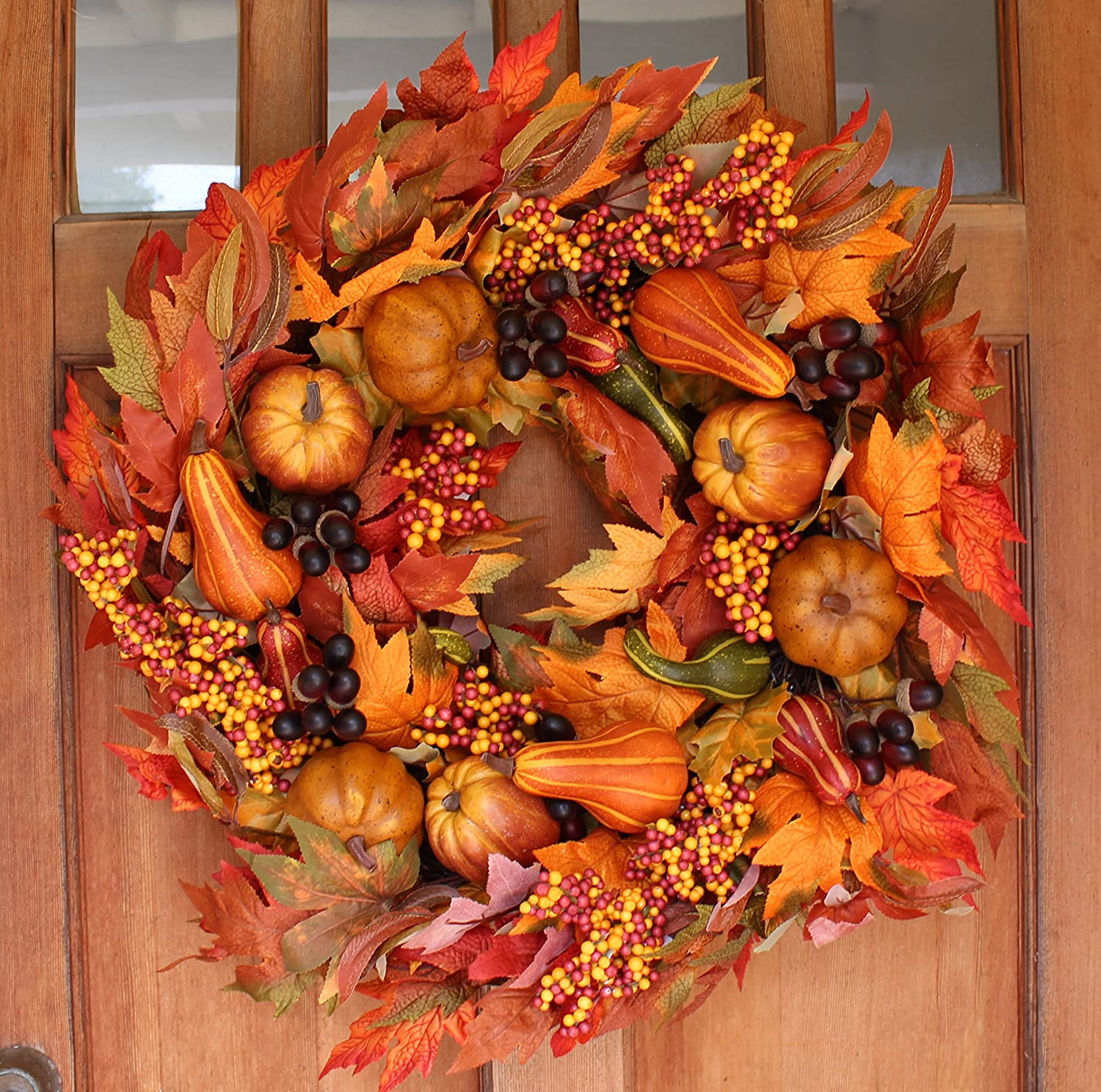 Orange Pumpkin Fall Harvest Silk Autumn Front Door Wreath