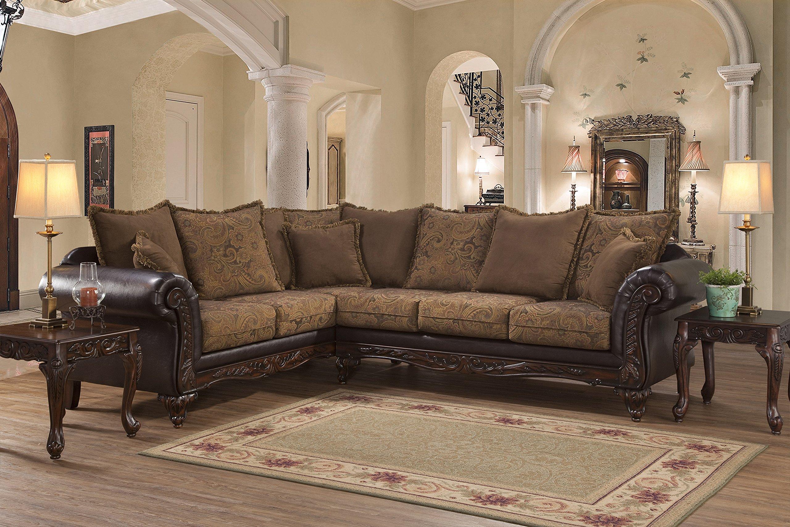 Roundhill Furniture LHU7685SEC San Marino Chocolate Solid Wood Frame Sectional Sofa