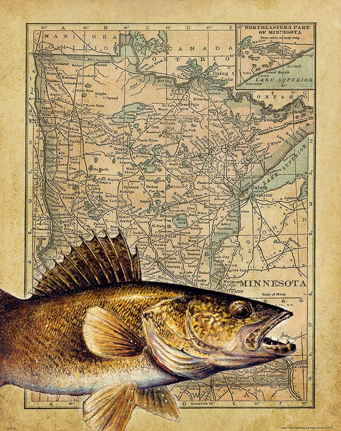 Apple Creek Minnesota State Map Walleye Pike Fishing Lures Poster Art Print 11x14 Cabin Decor Pictures