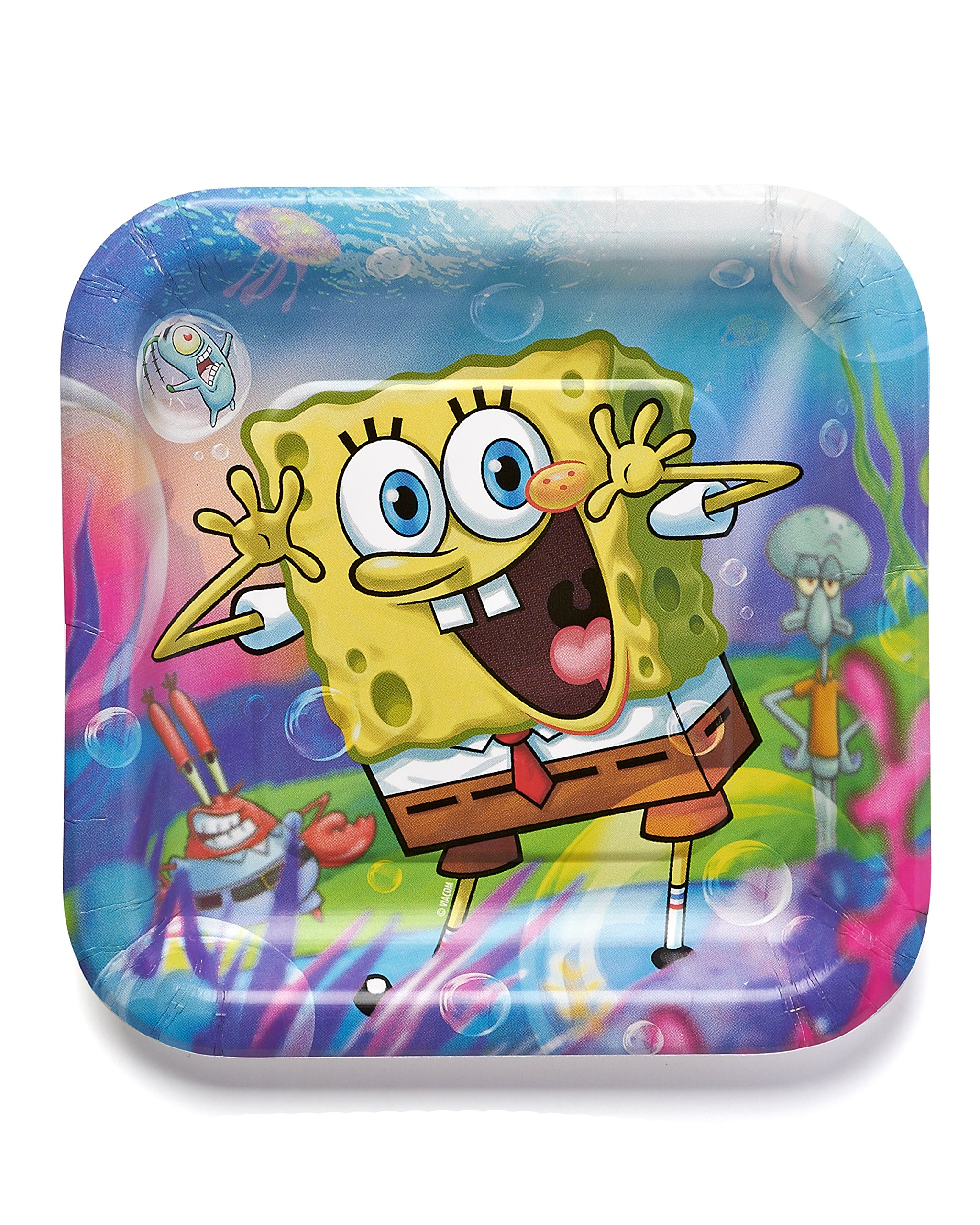 American Greetings 645416369763 SpongeBob SquarePants 7 Square Plate Party Supplies Novelty 8