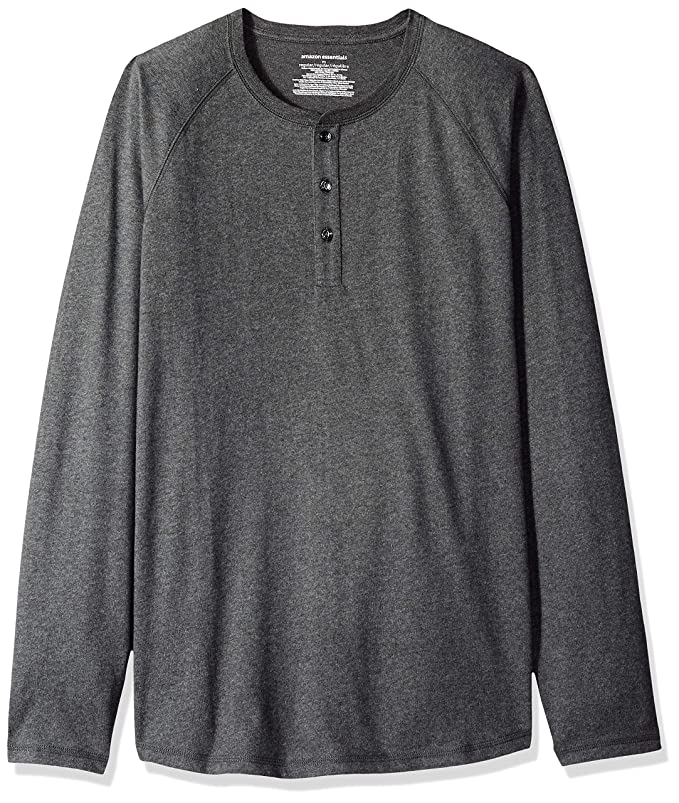 Amazon Essentials Men's Regular-Fit Long-Sleeve Henley Shirt, Charcoal Heather, Large