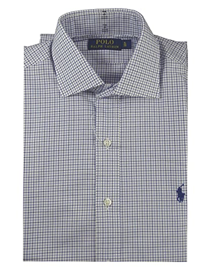 f95fedbb2 Ralph Lauren Shirt - Custom Fit - Check Blue - Size  15 38   S  Amazon.co.uk   Clothing