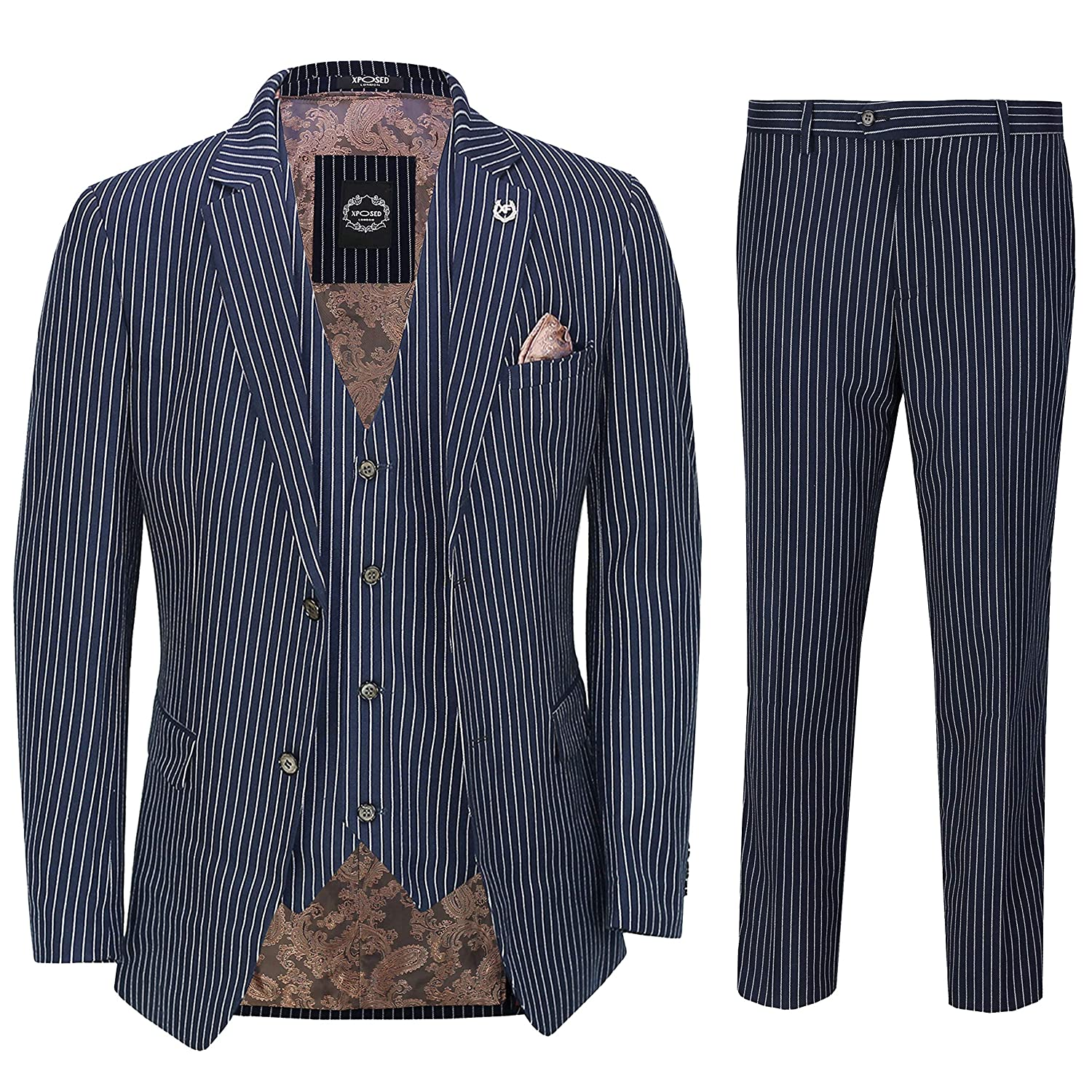 Retro Clothing for Men | Vintage Men's Fashion Xposed Mens Navy Blue 3 Piece Chalk Pinstripe Suit Classic Vintage Tailored Fit 1920s Peaky £104.99 AT vintagedancer.com
