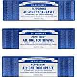 Dr. Bronner's Peppermint Toothpaste 3 Pack. Fluoride-Free Natural Toothpaste with Organic Ingredients (3 Pack)