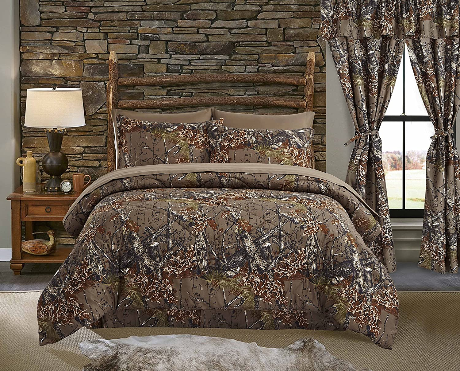 Regal Comfort The Woods Natural Green Camouflage King 4 Piece Premium Luxury Comforter, Bed Skirt, and 2 Pillow Shams Set - Camo Bedding Set for Hunters Cabin or Rustic Lodge Teens Boys and Girls