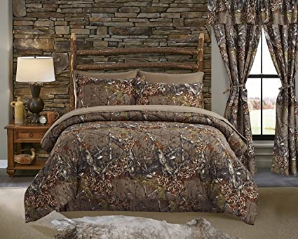 Regal Comfort The Woods Natural Green Camouflage Queen 4 Piece Premium Luxury Comforter Bed Skirt And 2 Pillow Shams Set Camo Bedding Set For
