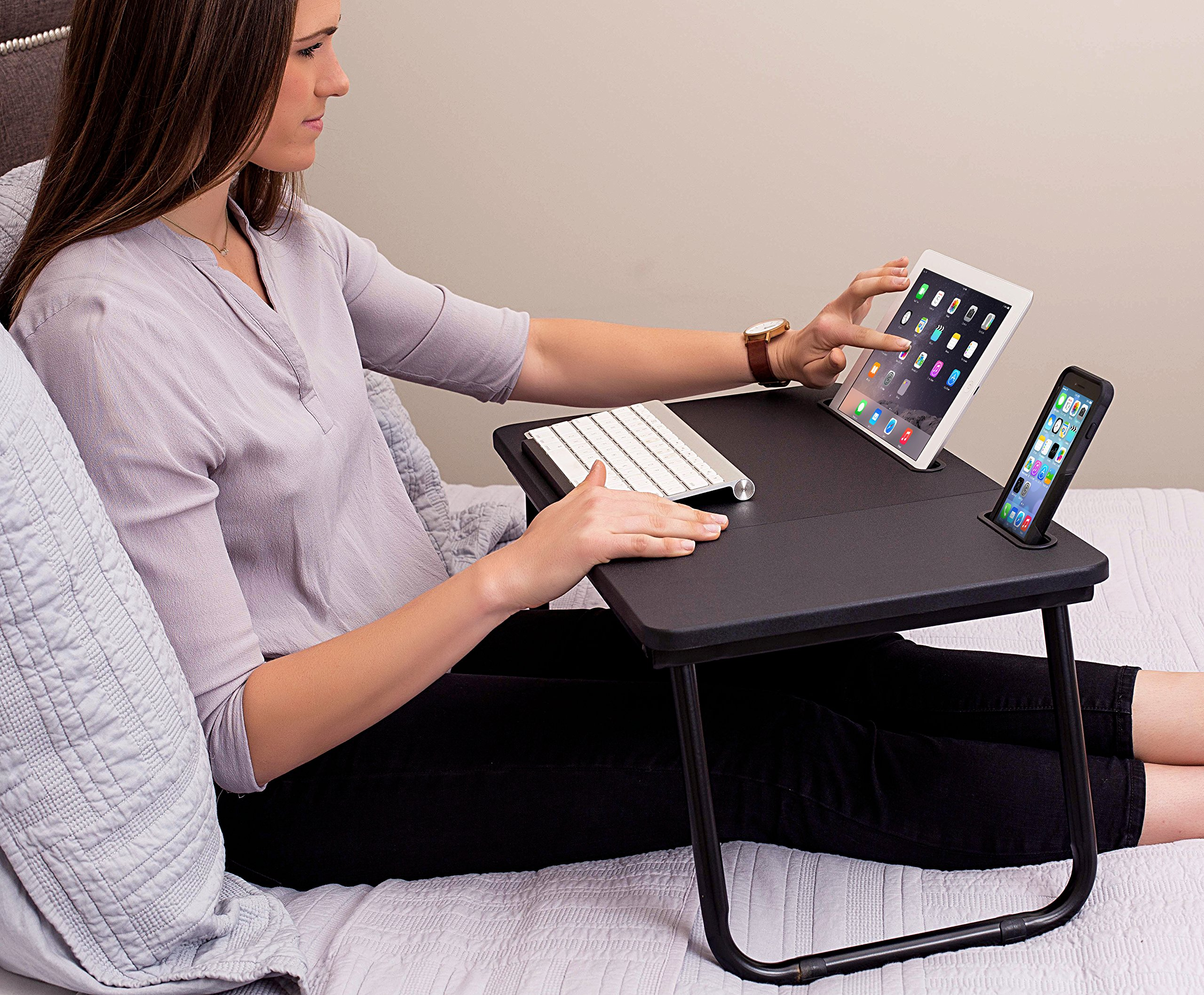 Sofia + Sam Lap Tray with Tablet & Phone Slots | Metal Folding Legs | Lap Desk with Tilting Top | Laptop Stand | Breakfast Serving Bed Tray | Black by Sofia + Sam (Image #3)