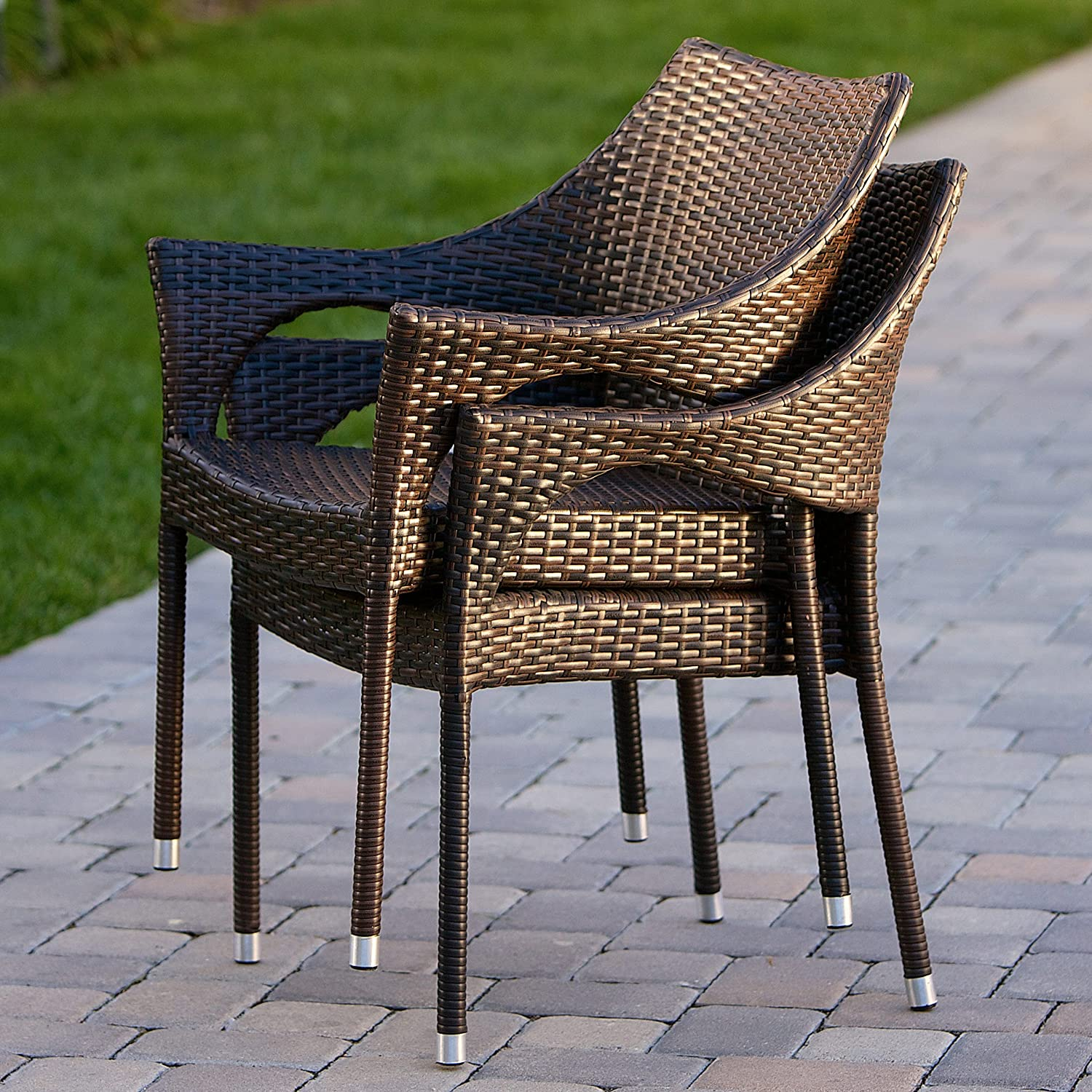 Amazon.com: Del Mar Outdoor Brown Wicker Stacking Chairs (Set Of 2):  Kitchen U0026 Dining