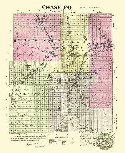 Old Kansas Map.Amazon Com Old County Map Chase Kansas Everts 1887 23 X 28 25