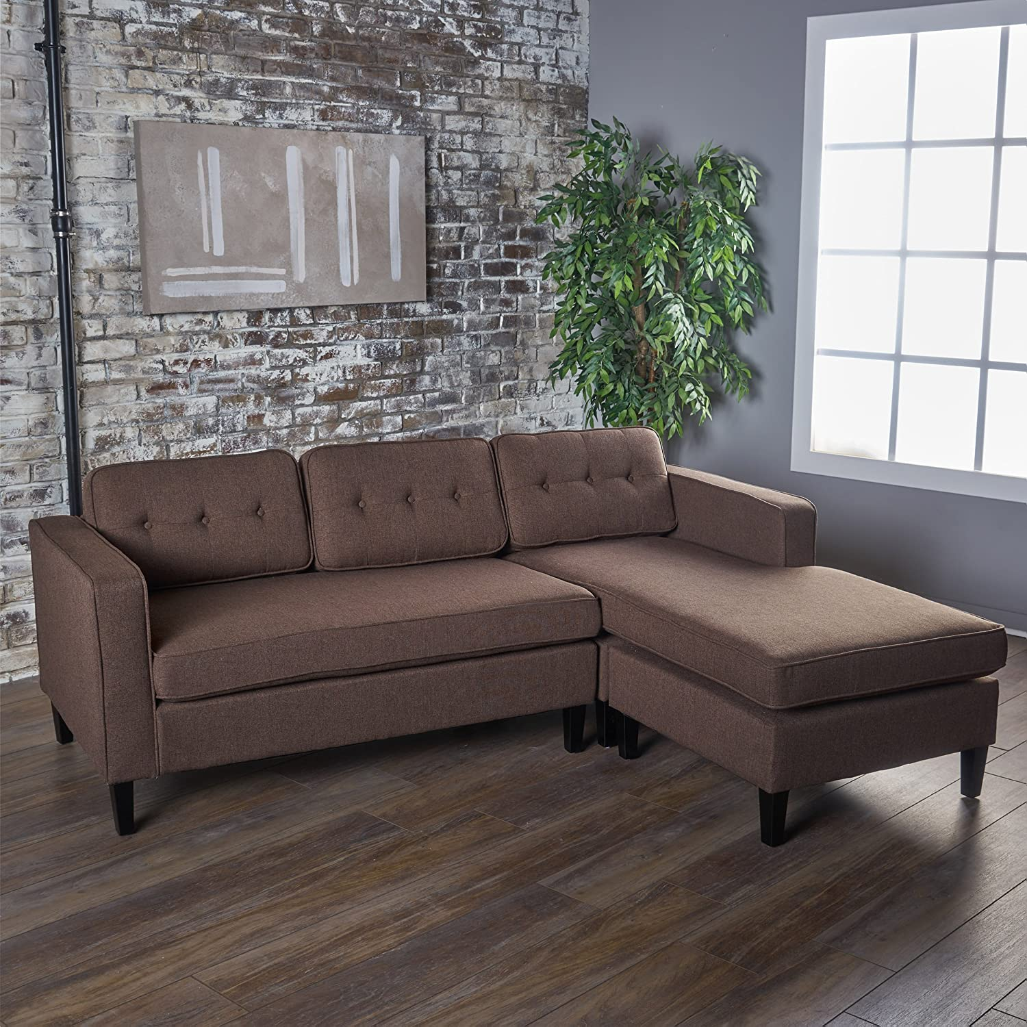 GDF Studio 301845 Windsor Room | 2 Piece Chaise Sectional Sofa | Ideal for  Small Apartment Living | Scandinavian, Mid Century Design | Fabric in Dark  ...