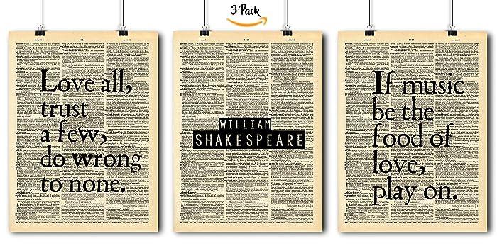 Amazon Com Famous Quotes Art William Shakespeare 3 Print Set