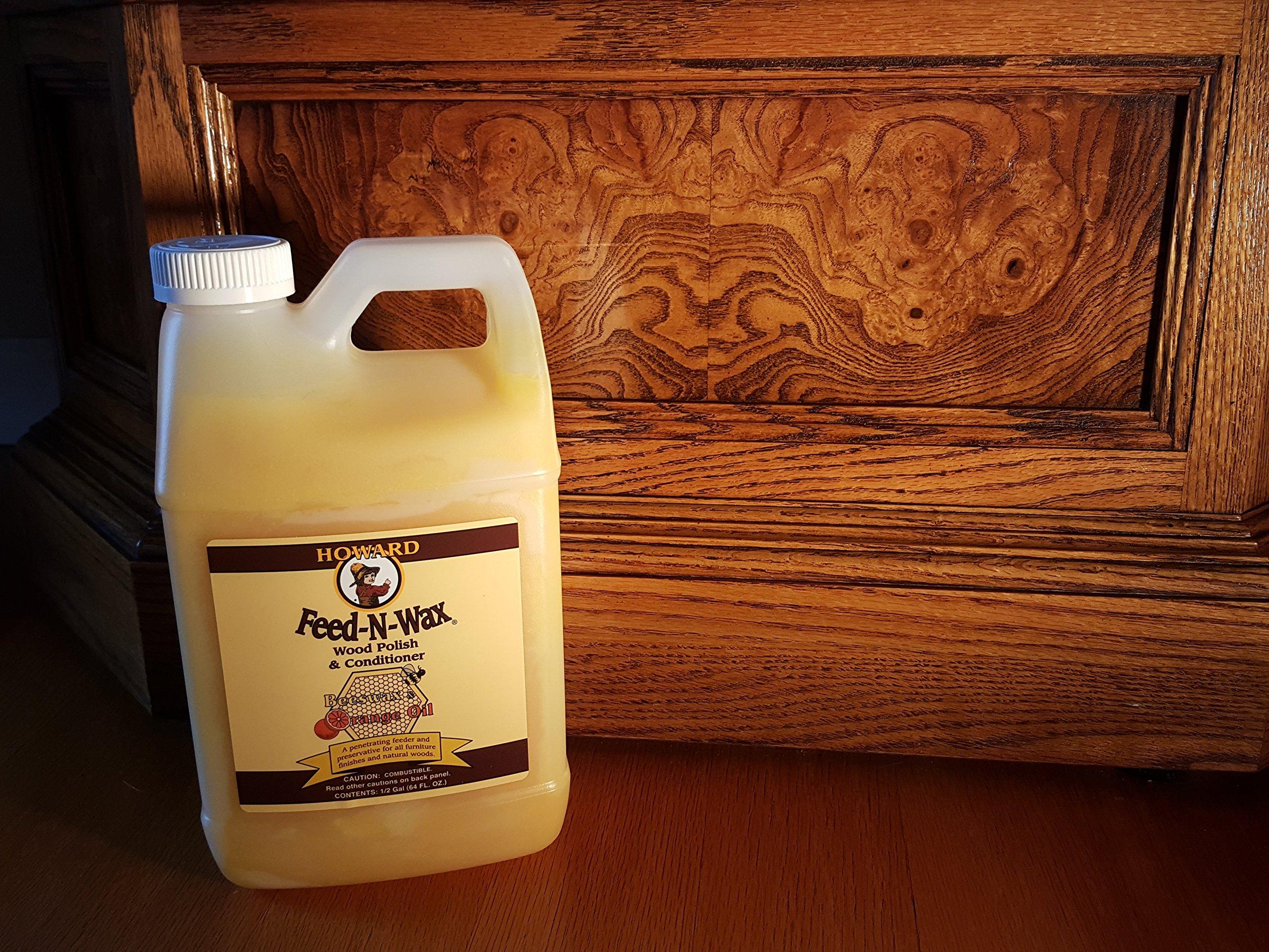 Howard Feed-N-Wax Restorative Wood Polish and Conditioner 64oz 1/2 Gallon, Polish Wood Floors, Antique Furniture Restoration, Wood Furniture by Howard Products (Image #6)
