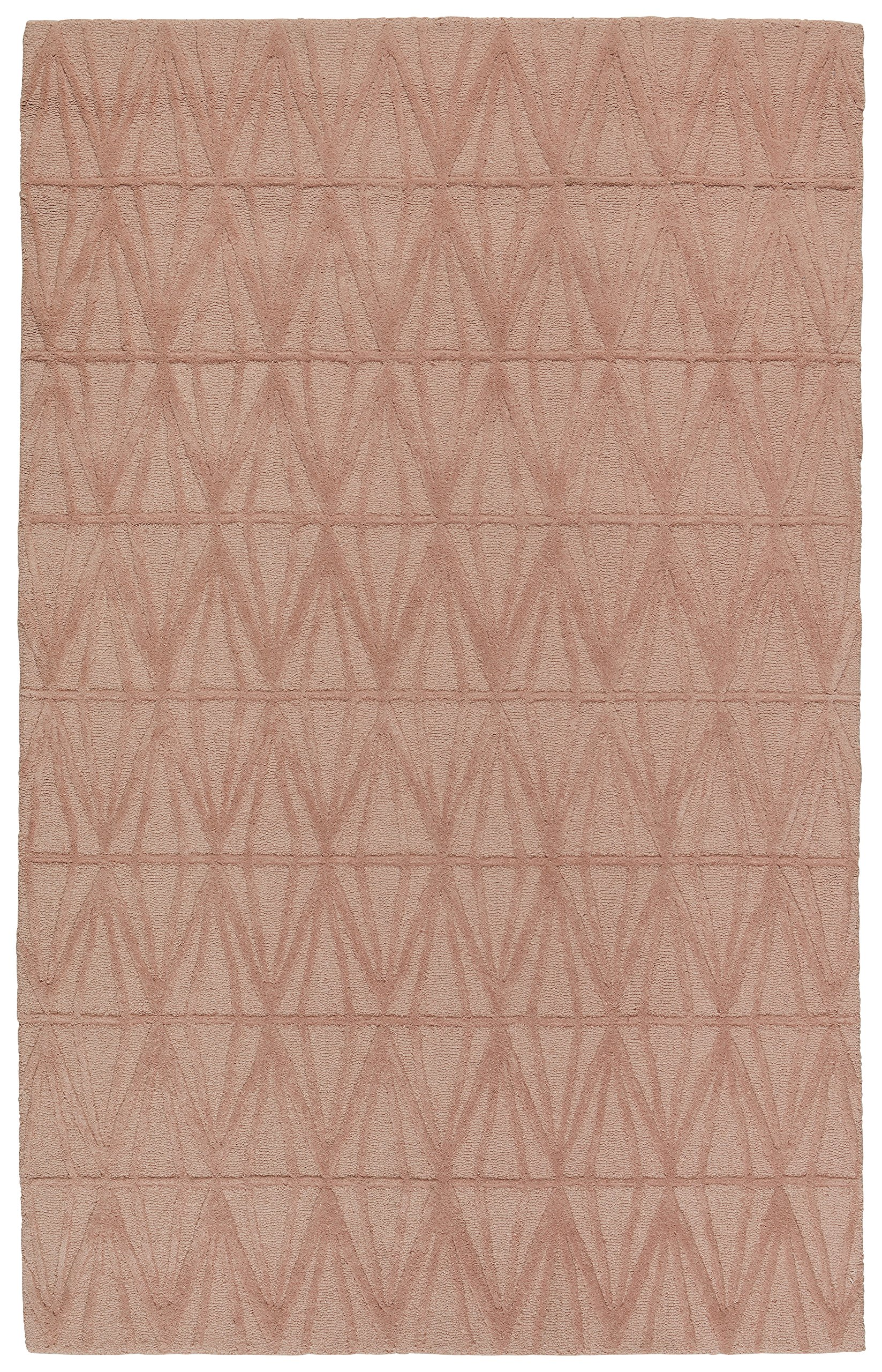Rivet Sunset Textured Geo Pattern Wool Area Rug, 8' x 10', Pink by Rivet (Image #1)