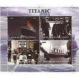 Titanic sellos para coleccionistas. La nave, la tripulación y la hoja cobrable de desastres con 4 sellos / Congo / 2012