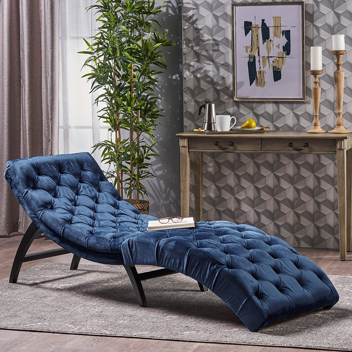 Garamond Cobalt Velvet Chaise Lounge Great Deal Furniture