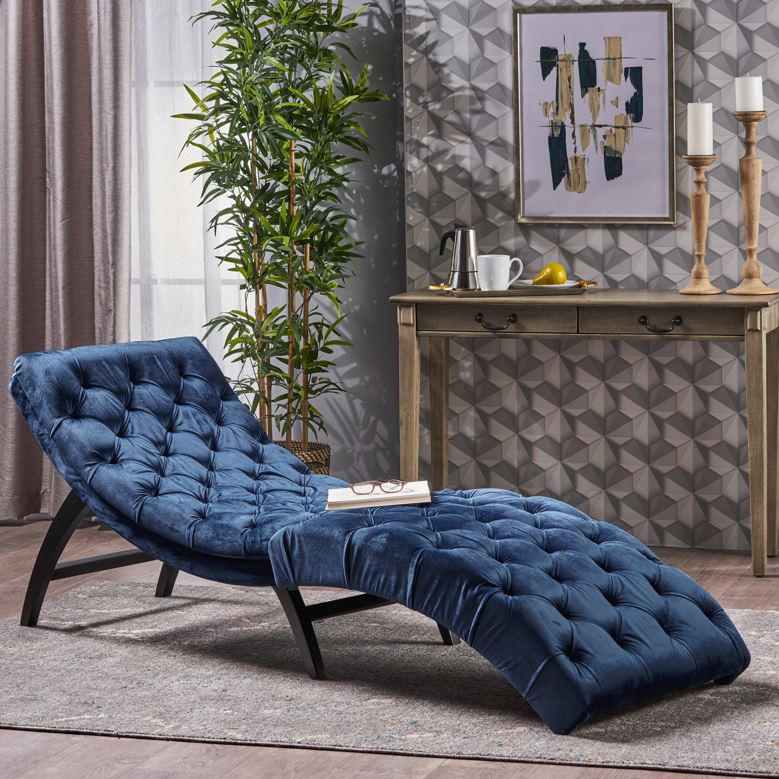Details about Modern Chaise Lounge Chair Sofa Curved Lounger Bedroom Cobalt  Velvet Tufted NEW