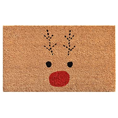 Calloway Mills 105011729 Rudolph Doormat, 17  x 29  Red/Black