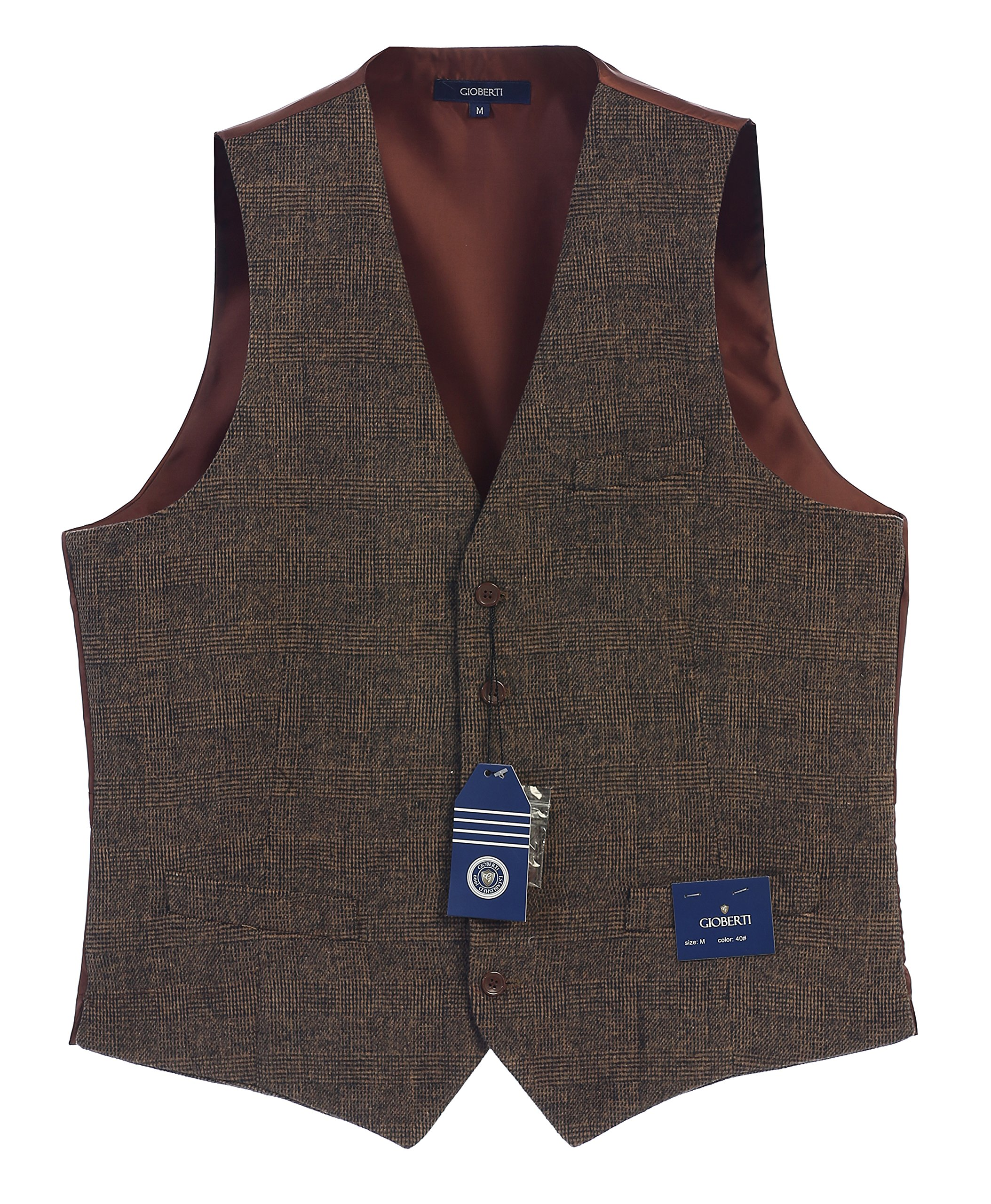 Gioberti Men's 5 Button Formal Tweed Suit Vest, Brown Checked, Large