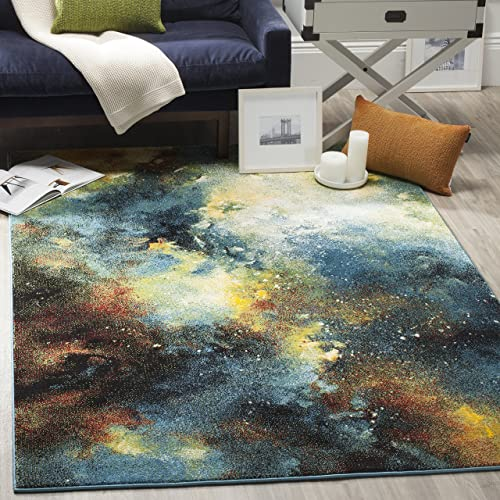 Safavieh Galaxy Collection GAL111B Abstract Watercolor Blue and Multi Area Rug 8 x 10