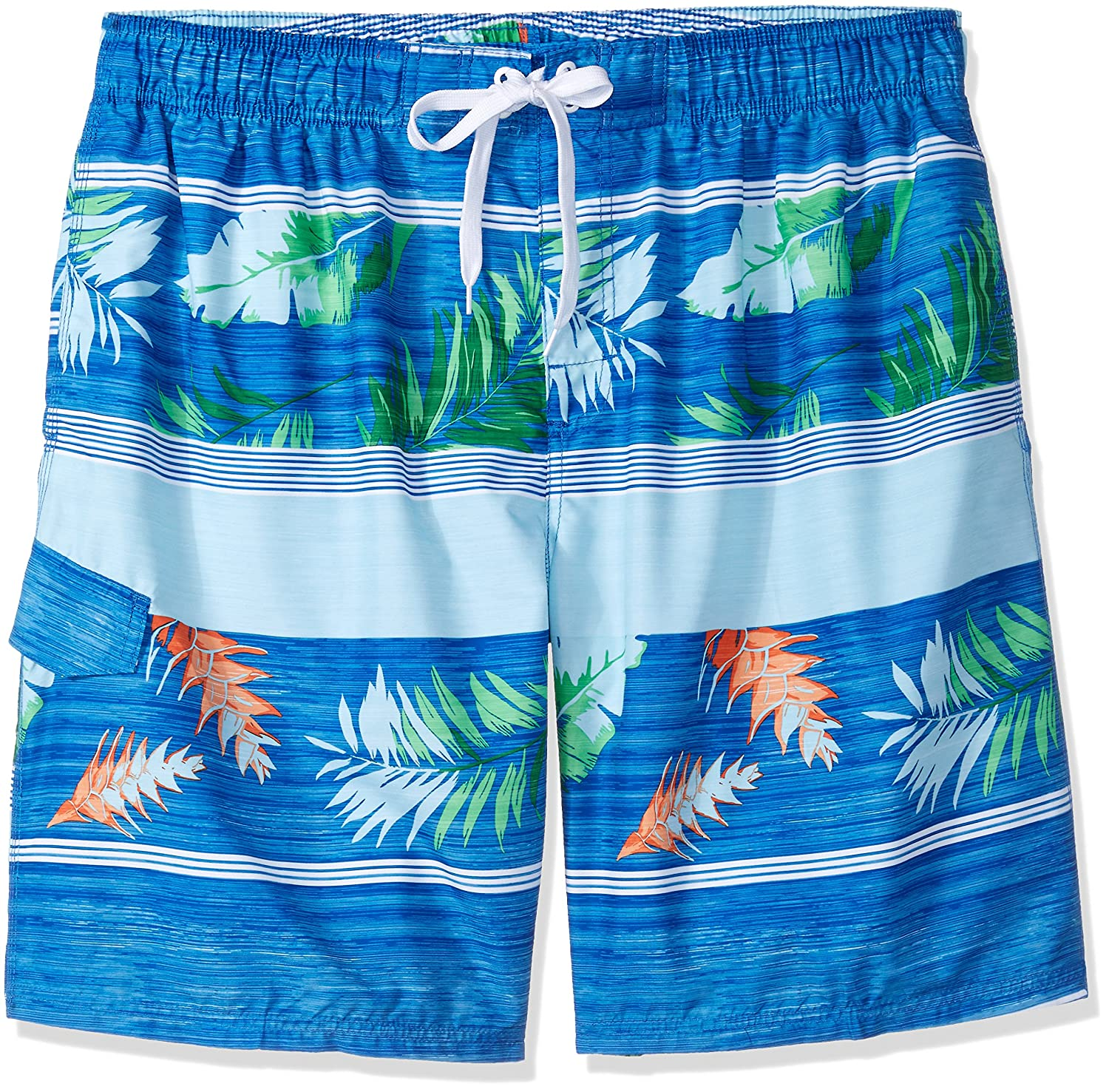 Kanu Surf Men's Big Condor Extended Size Stripe Floral Swim Trunk Kanu Surf Men's Swimwear 4451X